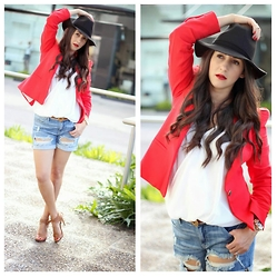Anyelina G. - Forever 21 Hat, Zara Blazer, Michael Kors Watch, Dolce & Gabbana Belt - Ready For Spring
