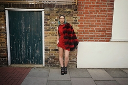 Sophie Hannah Richardson - Boohoo Fur Coat, Linzi Shoes Sandals, Demi Loon Red Dress - Little Red Dress LRD