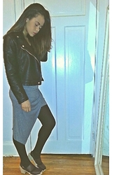 Chayan Lewis - Zara Twisted Hi Low Skirt, Lotta From Stockholm Clog Heels In Aubergine, Danier Leather Jacket - X.