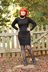 Jamie Rose - Forever 21 Turtleneck Sweater Dress, Delia's Black Lace Tights, Black Ankle Boots, Givenchy Gold Choker Necklace - Sweater Dress and Lace Tights