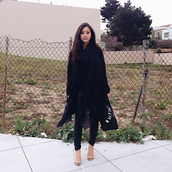 Tiffany Wang - Blank Nyc Leather Pants, Zara Heels, Vyvyn Hill Scarf, Givenchy Bag, Cos Cardigan - SILK SCARF