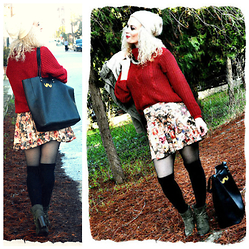 Theano Lazaridou - Accessorize Bag, Bershka Skater Skirt - Red wine and Happiness!