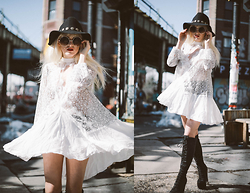 Rachel Lynch - Kerol D Black Cherokee Hat, Zerouv Circle Bug Sunnies, Free People White Tunic Dress, Jeffrey Campbell Black Lace Up Boots - I don't mind