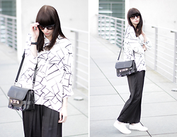 Ricarda Schernus - Armani Exchange Geometric Blouse, Proenza Schouler Bag, H&M Silk Pants, Gant White Sneakers, Prada Sunglasses - Scandinavian Minimalism