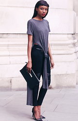 Natasha N - Maxi T Shirt, Suede Leggings, Clutch, Office Shoes - Black and Grey