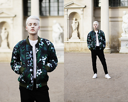 Patrick Pankalla - Pray For Paris Bomber Jacket, Acne Studios T Shirt, Weekday Trousers, Nike Sneakers - Spring Has Arrived