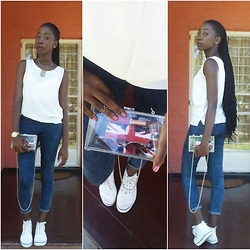 Kii Fundafunda - Perspex Clutch, H&M Acid Wash Jeggings, H&M White Canvas Shoes, White Vest, Twist Braids - * Clear as Day *