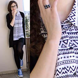 Sabrina X - H&M Cardigan, H&M Sleeveless Blouse, H&M Basic Skirt, H&M Tights, Converse, New Yorker Cat Ring, Necklace - .0001