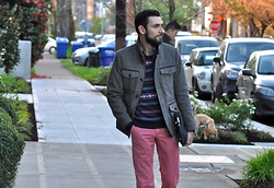 Hector Diaz - H&M Jacket (Similar), American Eagle Outfitters Sweater (Similar), J. Crew Pink Washed Chinos (Similar), J. Crew Chambray Workshirt (Similar) - Seattle Streetstyle
