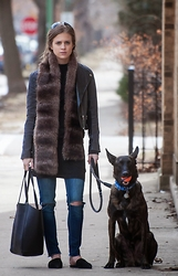 Alexandria Deanne - H&M Jacket, H&M Denim, Jeffrey Campbell Flats, H&M Bag, Vintage Fur Scarf - A Girl and Her Pooch
