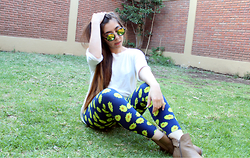 Karen Cardiel - Daisy Leggings, Yelow Circular Sunglasses, Lob Chelsea Boots, Brunette Long Hair - Almost Spring