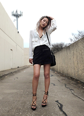 Huyen T - Stella Mccartney Crepe Shirt, Mango Suede Skirt, Saint Laurent Tom Ford For Yves Wedges - Tied up