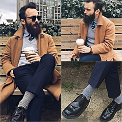 ALICAN AYSIN - Asos Pants, Happy Socks, Grenson Shoes, Mudo Coat, Cos Sweater, Ray Ban Sunglasses - Confused March