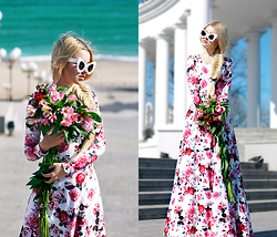 Krist Elle - Zara Shoes High Heels, Freyrs Cat Eye Sunglasses, Oasap Floral Dress - The Black sea