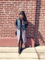 Janet Park - Kendall & Kylie Jacket, Silence + Noise Duster, Leith Long Sleeve, Brandy Melville Usa Shorts, Crown Vintage Ankle Boots, Crossbody Bag - 4th St