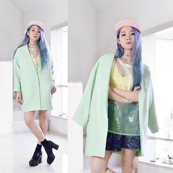 Junko Suzuki - Monki Corienne Coat, Monki Valice Top, Monki 267730, Manic Panic Blue Mix Hair - 190315