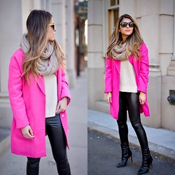 Pam Hetlinger - Boohoo Pink Coat, Topshop Faux Leather Leggings - Hot Pink Coat