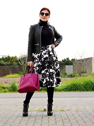 Teresa Leite - Tany Couture Self Made Pleated Midi Skirt, Zara Chandelier Earrings, Mango Black Leather Jacket, Parfois Fuchsia Tote Bag, Zara Track Sole Platform Booties - The Skirt makes the Look! (self-made skirt)