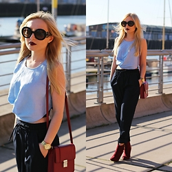 Justyna B. - Top, Prada Sunglasses - Blue & burgundy
