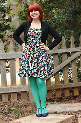 Jamie Rose - Old Navy Black Cropped Cardigan, Handmade Martini Print Dress, Target Mint Green Tights, Xappeal Shiny Purple T Strap Heels - Martini Print!