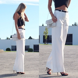 Bianca - Country Road Wide Leg Pants, Sheike & Co White Clutch, Pilgrim Clothing Crop, Windsor Smith Heels - Monochrome simplicity