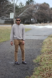 Donovan Alexander - Acne Studios 3 Button Henley Jumper, Cheap Monday Tan Chino, Vintage Tortoise Cat Eyed Glasses, Cole Haan Penny Loafers, Calvin Klein Striped Socks - Welcøme 2 Heartbræk