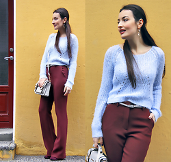 Lucine A - H&M Flare Pants, H&M Light Blue Sweater, River Island Gray Mini Satchel - Marsala flares