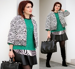 Teresa Leite - Zara Zebra Print Jacket, Mango Emerald Green Knit Sweater (Old), Mango Zebra Print Silk Top (Old), Zara Leather Look Dress (Posing As Skirt), Zara Leather Bag With Metal Piping, Zara Black Suede Knee High Boots, Calvin Klein Eye Shaped Wrist Watch - Zebra print and Green