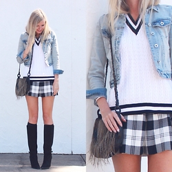 Bianca - Supre Pleated Skirt, Dahli The Label Vest, Forever New Denim Jacket - High School Chic