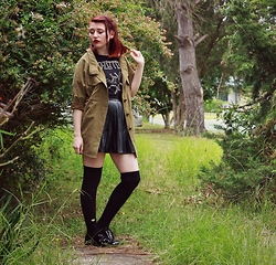 Sarah W. - Kmart Led Zeppelin Shirt, Forever 21 Patent Oxfords, Boohoo Pleather Skirt, Sheinside Military Inspired Parka - STUCK IN 2012