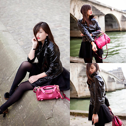 Nikita Wong - Style Moi Patent Jacket, Golden Lane Pink Bag, Bliss Tulle Skirt - Black Swan