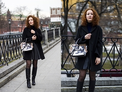 Anna Okonishnikova - Maxmara Coat, Carven Bag, Zara Pull Over, Baldinini Boots, Topshop Lethaer Skirt - THE COMEBACK