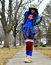 Drowsy Dame - Amazon Pokemon Bucket Hat, Target Superman Shirt, Sock Dreams Gloves, Pacsun Blue Plaid Skirt, Sock Dreams Plaid Socks, Local Shop Legwarmers - Baby baby!