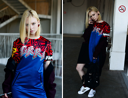 Lena Ushakova - Marc By Jacobs Dress, I Am Studio Coat, Adidas Sneakers - One girl revolution