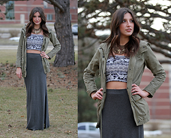 Alexis Kelly - Hollister Parka, Urban Outfitters Necklace, Forever 21 Crop Top, Target Maxi Skirt - Is it spring yet?