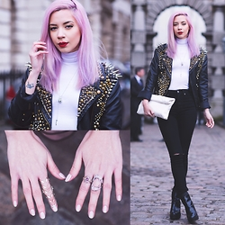 Leanne Lim-Walker - Hannah Beth Fincham Studded Jacket, Boohoo Turtle Neck, Boohoo Ripped Knee Jeans - Studded Chic