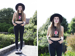 THE CLOSET Blog -   Black Fedora Hat, Complot Black High Waisted Jeans, Handmade The Runaways Embroidered Halter Top, Ebay White Creepers - Queens of Noise - The Closet blog