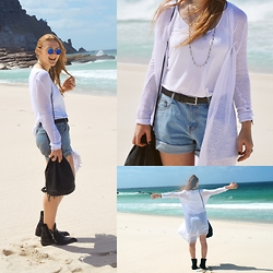 Lea Feicks - Iam Sunglasses, Lookbookstore Shorts, Zara Bag, Zara Boots, Claires Jewelry, Cottonon Cozy Cardigan - Perfection.