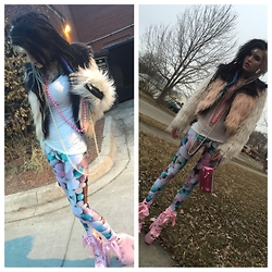 Alloy Ash - Black Milk Clothing Pill Leggings, Chaser Color Block Fur Moto, Yru Ballet Bae Platforms, Thrift Store Diy Studded Clutch - Bubble gum