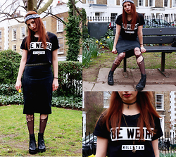 Vanessa - Kill Star Be Weird Tee, H&M Studded Belt, Vagabond Leather Boots, Diy Tights, New Look Cross Choker, Camden Skull Hand Necklace - Be weird