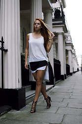 Jasmin Valta - Monki Shirt, 5 Inch And Up For Nelly Shorts, Zara Shoes - Black and white