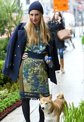 Eef Vicca - Vintage Shirt, Anthropologie Tapestry Pencil Skirt, H&M Blue Jacket - DOGS AND DRESSING