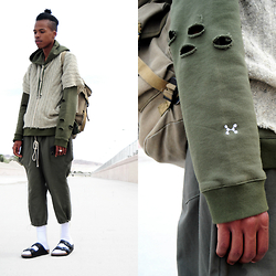 Dominic Grizzelle - C2h4 Woods Hoodie, Kitschnyc Tunic, Kitschnyc Olive Pants - From The woods. Earth . Solar System