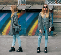 Anna Pogribnyak - Reserved Coat, Topshop Boots, Mango Sunnies - Rainbow