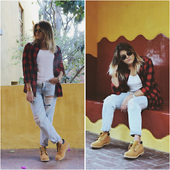 Mish Sky' - H&M Plaid Shirt, Stradivarius White T Shirt, Forever 21 Boyfriend Jeans, Timberland Hiking Boots, Ray Ban Aviator Sunglasses, Asos Bracelet - Live your life.