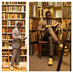 Nas Abayomi - Harris Tweed Suit, Ivory Double Monk Strap - Librarian