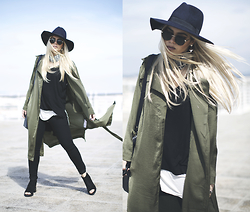 Inês M - Little Mistress Trench, Zara Jeans, Missguided Shoes, Asos Sunglasses, Asos Hat - Retorica