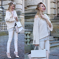Leonie Hanne - Leather Pants, Knit, Bag, Top, Heels - Simply nude | ohhcouture.com