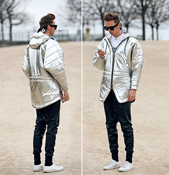 Chaby H. - Cukovy Silver Coat, H&M Leather Joggers, Alexander Wang X Hm, Kenzo Tiger Sweater, H&M Selected By David Beckham | - Silverholic | instagram @smizedivat