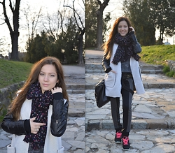 Marija M. - Tally Weijl Floral Scarf, Choies White Coat, Nike Free Run - Lets go for a walk
